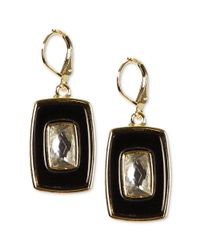 Anne Klein | Goldtone Crystal and Black Rectangle Drop Earrings | Lyst