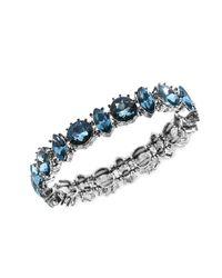 Anne Klein - Metallic Silver Tone Blue Stone Single Row Stretch Bracelet - Lyst