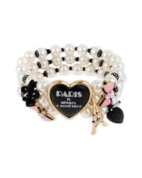 Betsey Johnson | White Paris Is Always A Good Idea Heart and Plastic Pearl Stretch Bracelet | Lyst