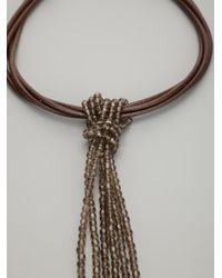 Brunello Cucinelli Brown Tassle Chain Necklace