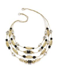 INC International Concepts - Multicolor Goldtone Multirow Crystal and Bead Illusion Necklace - Lyst