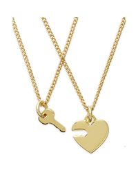 Juicy Couture | Metallic Goldtone Heart and Key Charm Pendant Necklaces | Lyst