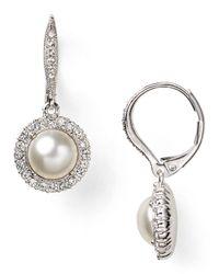 Nadri - Metallic Crystal Pearl Drop Earrings - Lyst