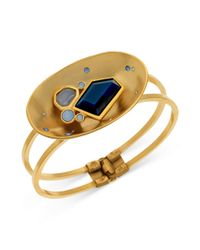 T Tahari | Metallic 14k Goldplated Blue Stone Cluster Concave Hinge Cuff Bracelet | Lyst
