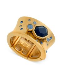 T Tahari - 14k Goldplated Blue Crystal Concave Stretch Ring - Lyst