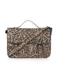 TOPSHOP - Natural Leopard Edge Paint Satchel - Lyst