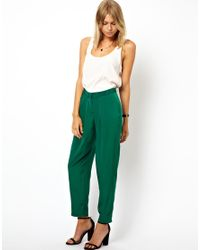 ASOS | Green Peg Trousers with Soft Pleats | Lyst