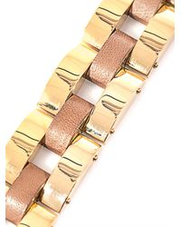 Chloé - Metallic Gourmette Gold Chain and Leather Bracelet - Lyst