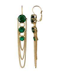 Dyrberg/Kern Metallic Melance Shiny Gold Green Earrings