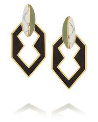 Eddie Borgo - Black Gold Plated New Jade and Howlite Earrings - Lyst
