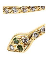 Ileana Makri | Metallic 18kt Gold Small Python Ring With White And Green Diamonds | Lyst