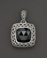 John Hardy | Metallic Sterling Silver Classic Chain Small Square Pendant Necklace With Hematite, 18"