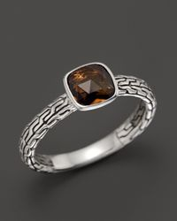 John Hardy - Brown Sterling Silver Classic Chain Small Square Station Ring With Cognac Quartz - Lyst