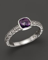 John Hardy - Metallic Batu Classic Chain Silver Small Square Station Ring With Amethyst - Lyst