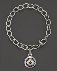 Judith Ripka | Metallic Sterling Silver Evil Eye Charm Bracelet With Black And White Sapphires And Amethyst | Lyst