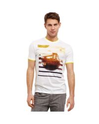 Kenneth Cole Reaction White Short Sleeve Faux Double Layer Tshirt for men