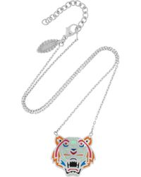KENZO | Metallic Tiger Enameled Silver Necklace | Lyst