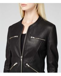 Reiss | Black Opal Collarless Leather Jacket | Lyst