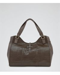 Reiss Green Sina Embossed Croc Shoulder Bag