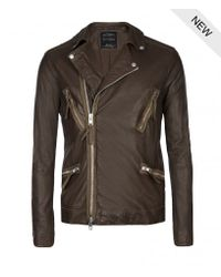 Allsaints Hilling Leather Biker Jacket In Brown For Men Lyst