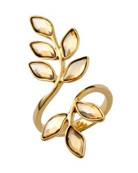 Aurora - Metallic Swarovski 18ct Gold Plated Leaf Ring - Lyst