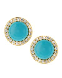 Belargo - Blue Turquoise Cz Stud Earrings - Lyst