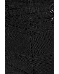 Hervé Léger Black Laceup Bandage Skinny Pants