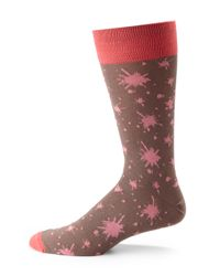 Hook + Albert | Pink Ink Splatter Dress Socks | Lyst