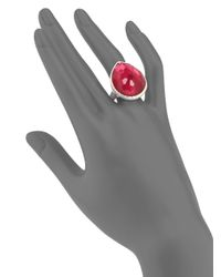 Ippolita - Metallic Mother of Pearl Clear Quartz and Sterling Silver Tear Drop Ring - Lyst