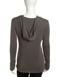 James Perse - Gray Scoopneck Terry Hoodie Burro - Lyst