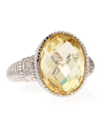 Judith Ripka | Metallic Canary Crystal Oval Ring Size 7 | Lyst