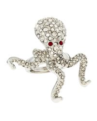 Kenneth Jay Lane | Metallic Rhinestone Pave Octopus Ring | Lyst