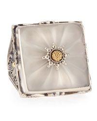 Konstantino | Metallic Iris Silver Square Floral Crystal Ring | Lyst