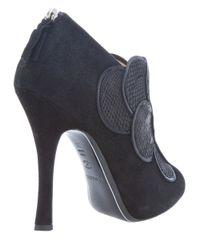 Pollini | Black Scaled Effect Peep Toe Shoe | Lyst