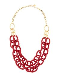 R.j. Graziano | Red Resinlink Doublechain Necklace Crimson | Lyst