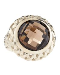 Slane | Brown Basketwoven Smoky Quartz Ring | Lyst