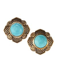 Stephen Dweck - Blue Turquoise Button Clip Earrings - Lyst