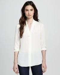 Theory White Helona Georgette Blouse
