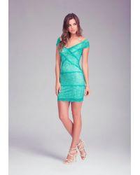 Bebe - Blue Off Shoulder Lace Dress - Lyst