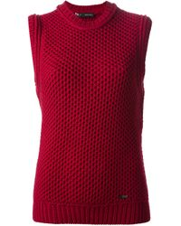 DSquared² - Red Sleeveless Waffle Kit Sweater - Lyst