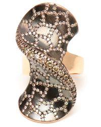 Ileana Makri | Metallic 18k Pink Gold and Champagne Diamond Bow Ring | Lyst