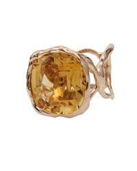 Lucifer Vir Honestus Metallic Organic Ring with Antique Cut Citrine