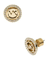 Michael Kors | Gray Logo Pave Stud Earrings | Lyst