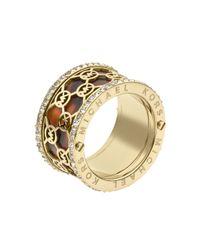Michael Kors Metallic Monogram Cut Out Tortoise Ring Golden