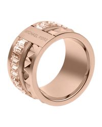Michael Kors | Pink Pyramid Baguette Ring Rose Golden | Lyst