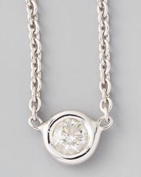 Roberto Coin - 18k White Gold Single Diamond Necklace - Lyst
