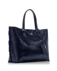 Tory Burch Blue Patent Shearling Tote