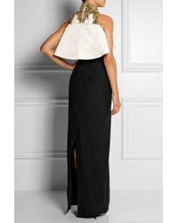 Alexander McQueen Black Embellished Crepe and Silk satin Gown