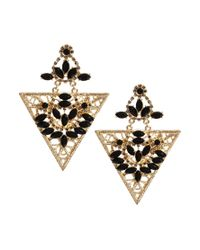 French Connection Multicolor Asos Jewelled Filigree Triangle Earrings