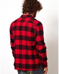ASOS Red Buffalo Check Overshirt for men